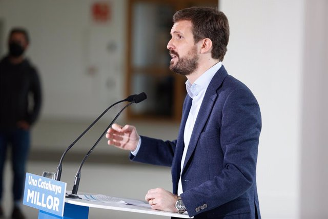 El president del Partit Popular, Pablo Casado, en un acte de campanya a Tarragona. Catalunya (Espanya), 9 de febrer del 2021.