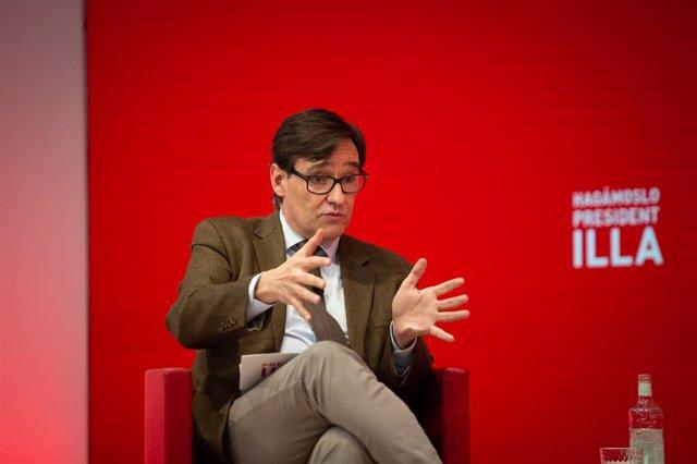 El candidat del PSC a les eleccions catalanes, Salvador Illa, en una trobada digital a Barcelona. Catalunya (Espanya), 8 de febrer del 2021.