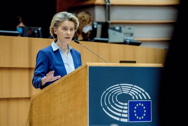 HANDOUT - 10 February 2021, Belgium, Brussels: European Commission President Ursula von der Leyen speaks during a plenary debate on the united EU approach to coronavirus (COVID-19) vaccinations at the European Parliament. Photo: Etienne Ansotte/European C