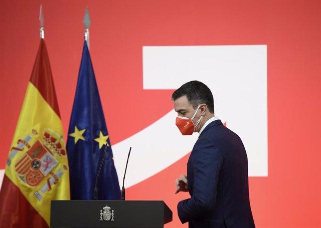 El presidente del Gobierno, Pedro Sánchez, durante la presentación de la Estrategia España Nación Emprendedora