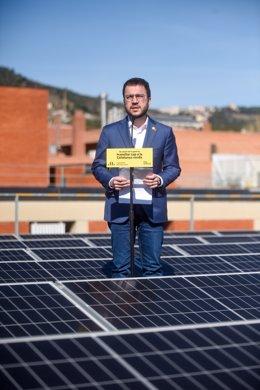 El vicepresident de la Generalitat en funcions i candidat d'ERC a la presidència, Pere Aragonès, en un acte de campanya.