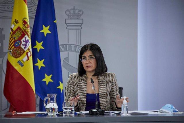 La ministra de Sanidad, Carolina Darias durante una rueda de prensa, tras la reunión del Consejo Interterritorial del Sistema Nacional de Salud, en Madrid (España), a 10 de febrero de 2021.