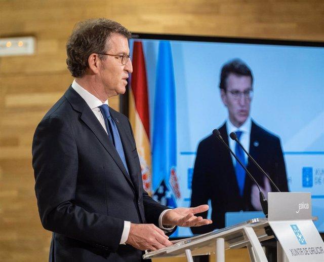 Alberto Nüñez Feijóo en rueda de prensa tras el Consello de la Xunta del 11 de febrero de 2021