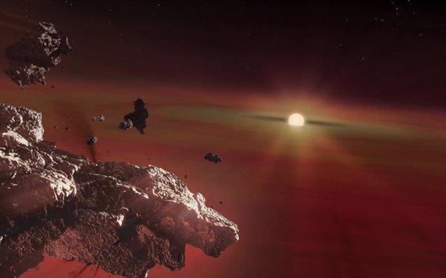 Restos de corteza planetaria que se desintegran bajo las fuerzas de las mareas alrededor de una enana blanca fría. El material del disco se vaporiza cerca de la estrella central y fluye hacia la atmósfera de la enana blanca.