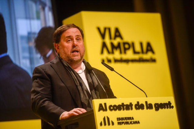 El líder d'ERC, Oriol Junqueras, en un míting a Vilanova i la Geltrú (Barcelona).