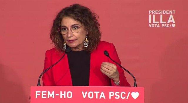 La ministra d'Hisenda i portaveu del Govern, Maria Jesús Montero, en un míting telemàtic del PSC durant la campanya electoral del 14F.