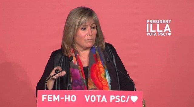 L'alcaldessa de L'Hospitalet de Llobregat i presidenta de la Diputació de Barcelona, Núria Marín, en un míting telemàtic del PSC.