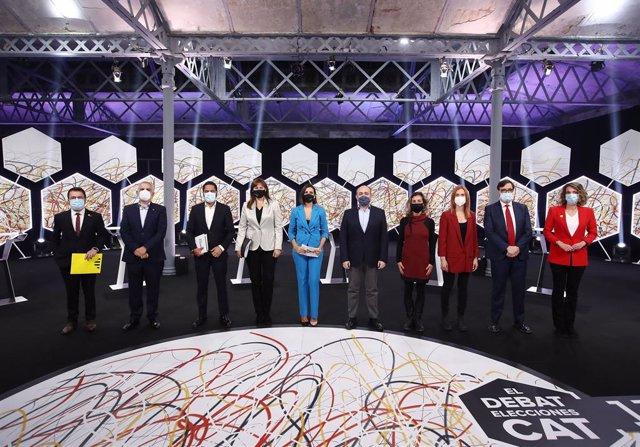 Els participants al debat de candidats a les eleccions catalanes del 14F, emès per la Sisena l'11 de febrer