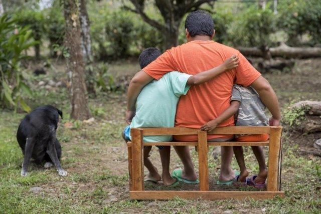 Familia de refugiados nicaragüenses en Costa Rica