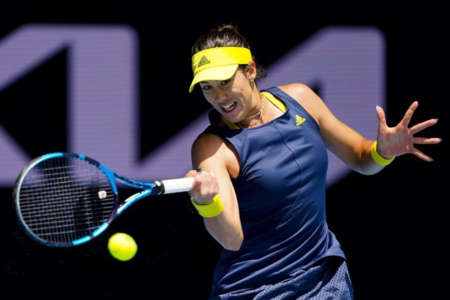 Garbine Muguruza of Spain in action during her third Round Women's singles match against Zarina Diyas of Kazakhstan on Day 5 of the Australian Open at Melbourne Park in Melbourne, Friday, February 12, 2021. (AAP Image/Dave Hunt) NO ARCHIVING, EDITORIAL US