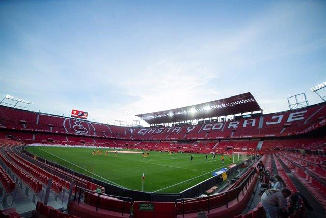 Detail of Stadium during 1/8 round of Copa del Rey, football match played between Sevilla Futbol Club and Valencia Club de Futbol at Ramon Sanchez Pizjuan Stadium on January 27, 2021 in Sevilla, Spain.