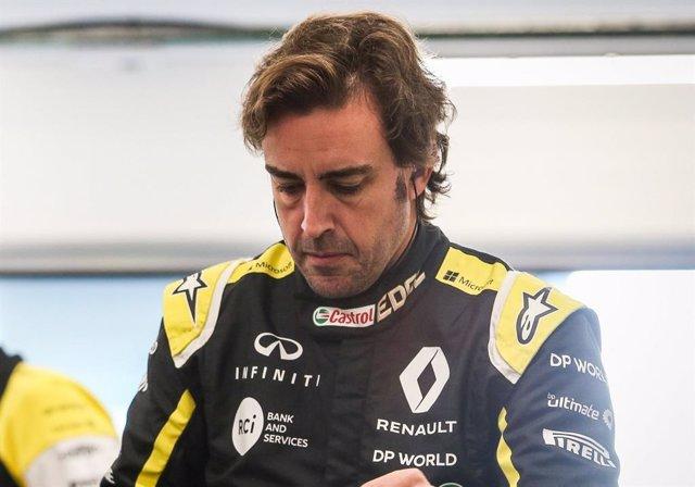 Fernando Alonso en un test de Renault