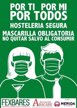 Cartel de la campaña por el uso de la mascarilla en la hostelería