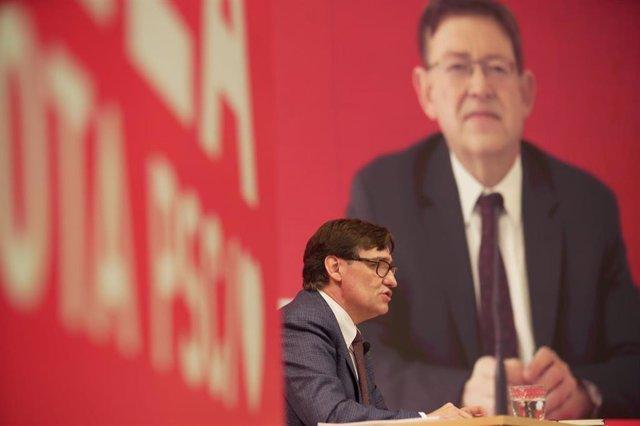 El cadidato del PSC a las elecciones catalanas, Salvador Illa, y el presidente de la Comunidad Valenciana, Ximo Puig.