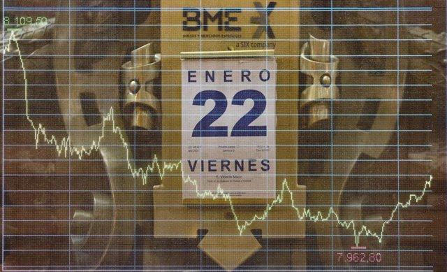 Calendario colocado en el Palacio de la Bolsa, en Madrid, (España), a 22 de enero de 2021.