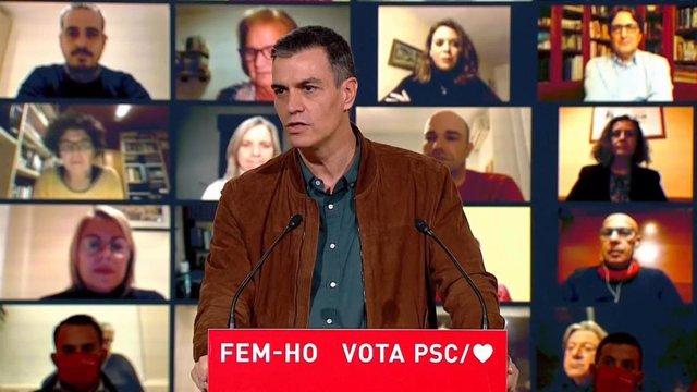 El presidente del Gobierno, Pedro Sánchez, en el cierre de campaña del PSC en las elecciones del 14 de febrero de 2021.