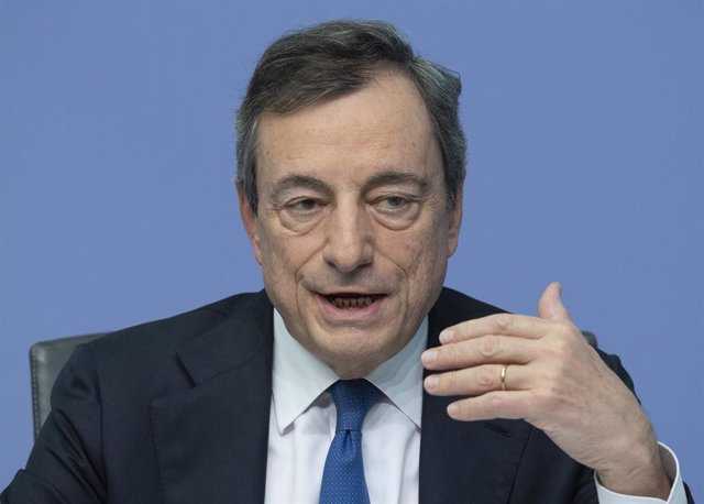 FILED - 24 October 2019, Hessen, Frankfurt_Main: Former European Central Bank (ECB)president Mario Draghi speaks during a press conference. Governments that have taken on massive levels of debt to fund post-coronavirus stimulus packages should be careful