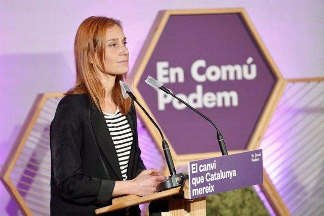 La candidata d'ECP a les eleccions catalanes, Jéssica Albiach, en el tancament de campanya dels comicis del 14 de febrer de 2021.