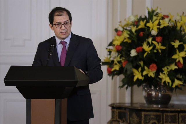 13 February 2020, Colombia, Bogota: Francisco Barbosa delivers a speech during a ceremony where he was sworn-in as Colombia's new Attorney General. Photo: Sergio Acero/colprensa/dpa