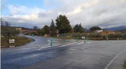 Una intersección en la carretera de La Vera