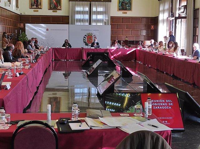Reunión de trabajo del equipo de Gobierno de Zaragoza.