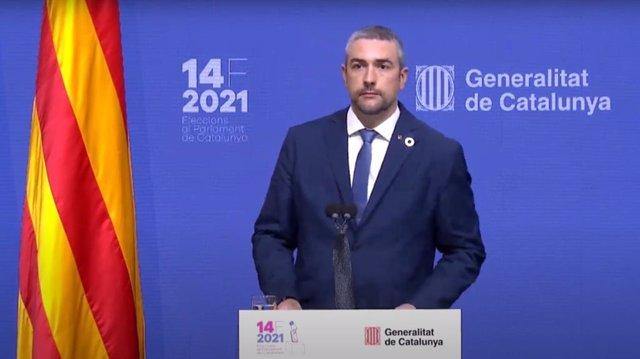 El conseller d'Acció Exterior, Relacions Institucionals i Transparència, Bernat Solé, en una roda de premsa sobre les eleccions catalanes del 14F