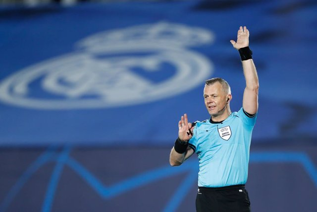 Bjorn Kuipers, referee of the match, gestures during the UEFA Champions League football match played between Real Madrid and Borussia Monchengladbach at Ciudad Deportiva Real Madrid on december 09, 2020, in Valdebebas, Madrid, Spain