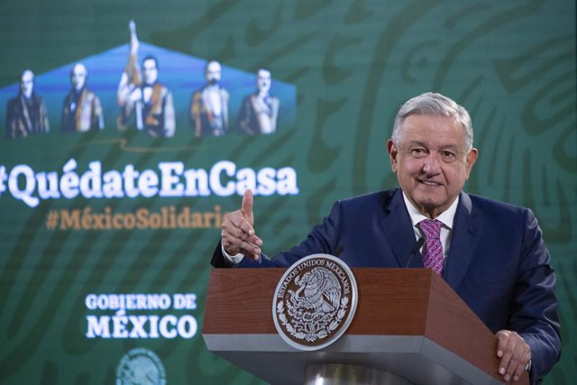 HANDOUT - 08 February 2021, Mexico, Mexico City: Mexican President Andres Manuel Lopez Obrador speaks during a press conference on the Corona pandemic. The head of state is resuming his public appointments after about two weeks of treatment for a Covid 19