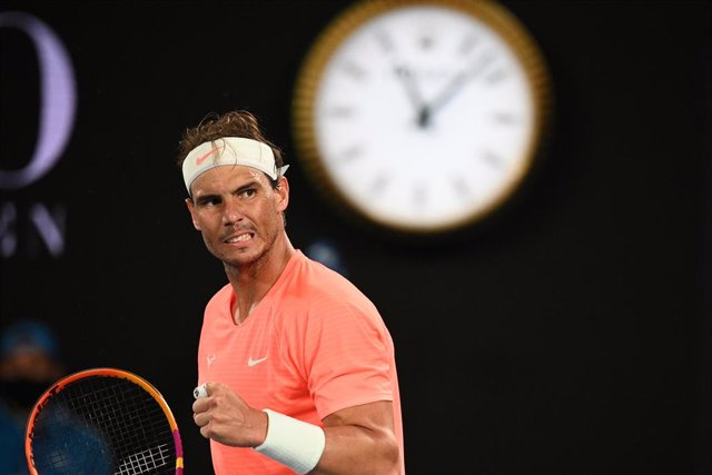 Rafael Nadal the Spain celebrates after winning his third Round Men's singles match against Cameron Norrie of the United Kingdom on Day 6 of the Australian Open at Melbourne Park in Melbourne, Saturday, February 13, 2021. (AAP Image/Dean Lewins) NO ARCHIV