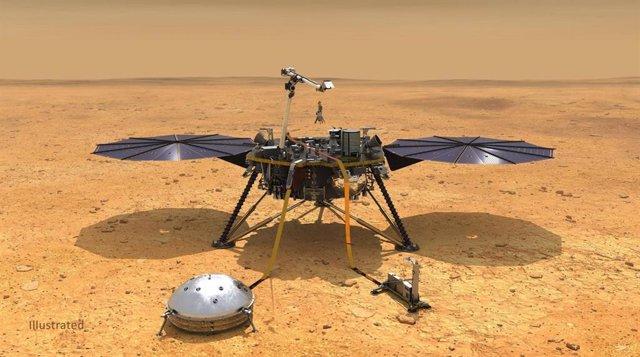 Esta ilustración muestra la nave espacial InSight de la NASA con sus instrumentos desplegados en la superficie marciana