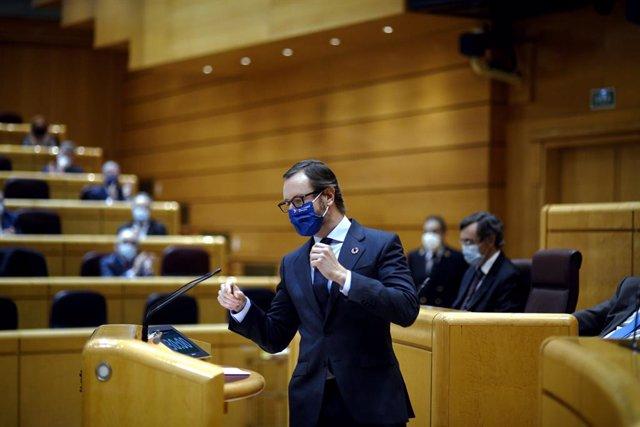 El portaveu del PP al Senat, Javier Maroto, durant una sessió plenària a la cambra alta. Madrid (Espanya), 14 de desembre del 2020.