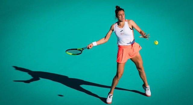 Sara Sorribes Tormo of Spain in action during her quarter final match at the 2021 Abu Dhabi WTA Womens Tennis Open WTA 500 tournament against Marta Kostyuk of Ukraine