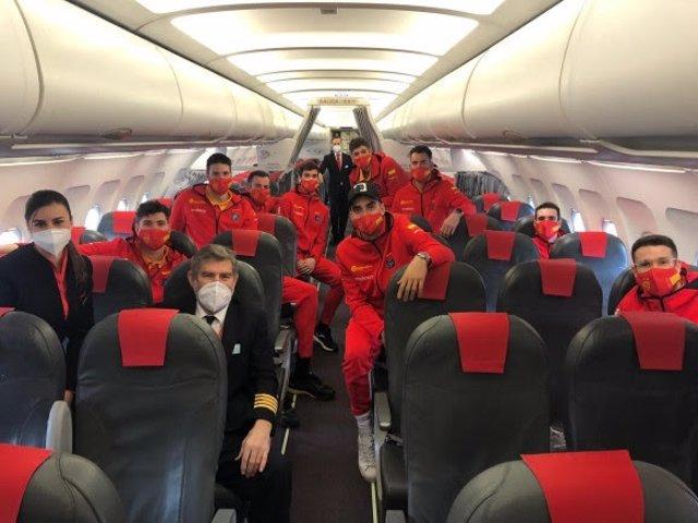 La selección española de baloncesto masculino vuela con Iberia a Katowice
