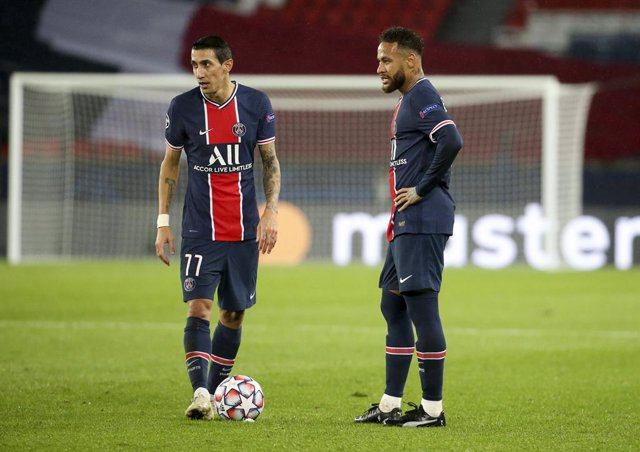 Angel Di Maria, Neymar Jr of PSG during the UEFA Champions League, Group Stage, Group H football match between Paris Saint-Germain (PSG) and Manchester United (Man U) on October 20, 2020 at Parc des Princes stadium in Paris, France - Photo Jean Catuffe /