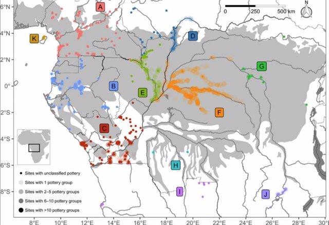Distribución geográfica de hallazgos de cerámica en la selva tropical del Congo y áreas boscosas adyacentes de África central