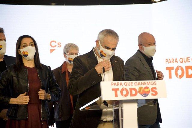 El líder de Cs a Catalunya, Carlos Carrizosa, en la nit electoral del 14-F