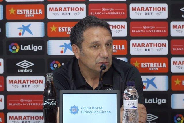 El entrenador del Girona FC, Eusebio Sacristán, en rueda de prensa