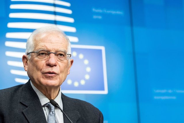 HANDOUT - 25 January 2021, Belgium, Brussels: European Union High Representative for Foreign Affairs and Security Policy Josep Borrell speaks during a press conference following an EU Foreign Ministers meeting at the EU headquarters. Photo: Zucchi-Enzo/EU