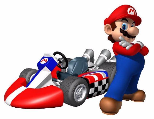 Mario en el videojuego Mario Kart de Nintendo