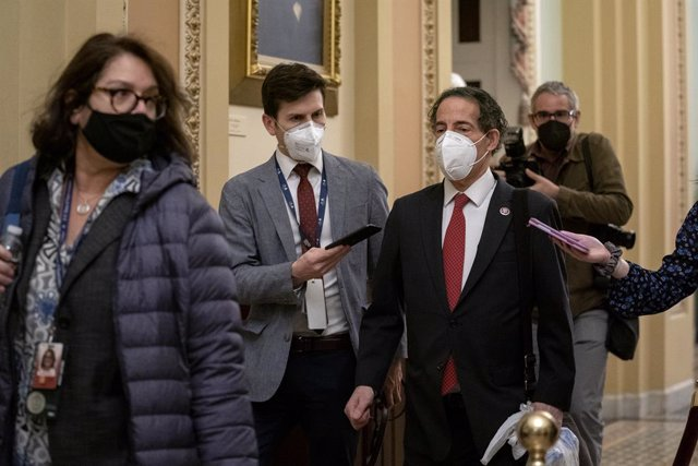 February 9, 2021 - Washington, DC, United States: United States Representative Jamie Raskin (Democrat of Maryland), second from right, wears a protective mask while departing the U.S. Capitol in Washington, D.C., U.S., on Tuesday, Feb. 9, 2021. The Senate