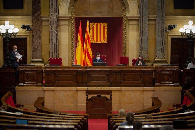 El president del Parlament, Roger Torrent, durant una sessió plenària al Parlament. Catalunya, 15 de desembre del 2020.