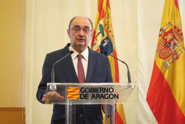 El presidente de Aragón, Javier Lambán, en una intervención ante la prensa