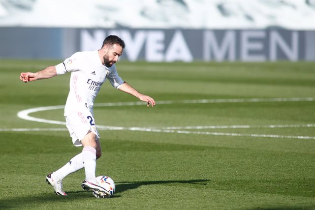 Daniel Carvajal of Real Madrid in action during the spanish league, La Liga, football match played between Real Madrid and Valencia CF at Ciudad Deportiva Real Madrid on february 14, 2021, in Valdebebas, Madrid, Spain.