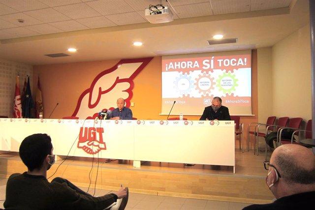 Daniel Alastuey y Pepe Álvarez en la rueda de prensa de este lunes.