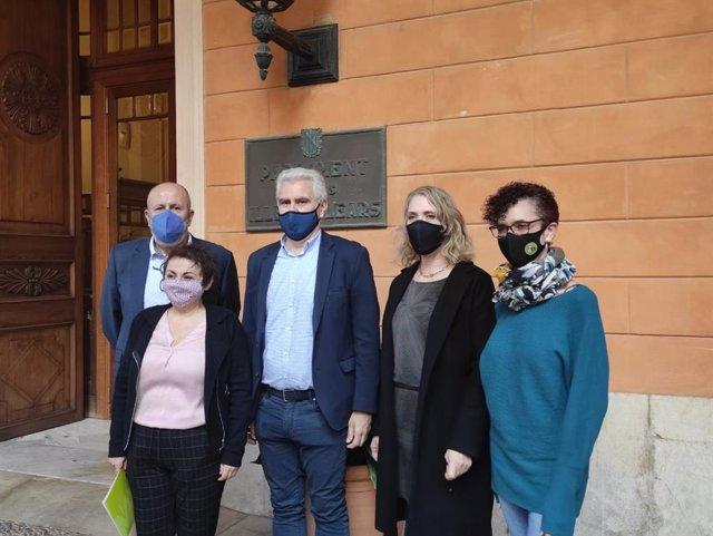 Diputados de El PI, MÉS per Mallorca y MÉS per Menorca a las puertas del Parlament.