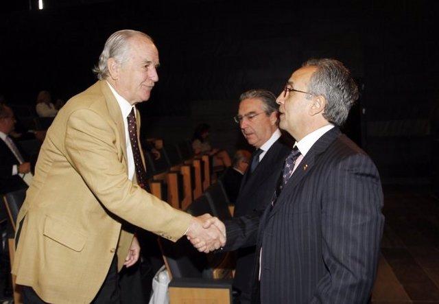 El expresidente del Comité Olímpico Español (COE) José María Echevarría junto al presidente Alejandro Blanco