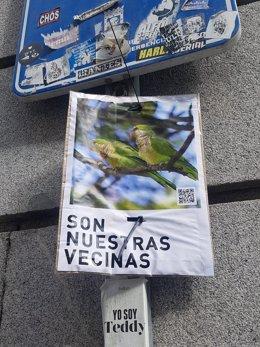 Cartel a favor de las cotorras argentinas