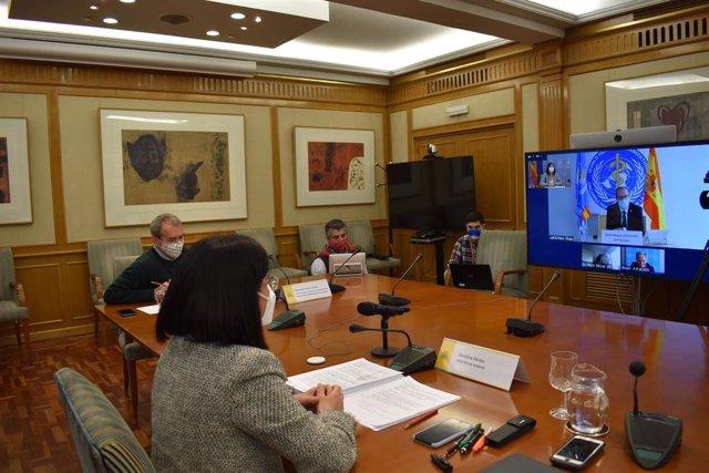 Darias muestra a la OMS la disposición del Gobierno a desarrollar proyectos en común a futuro