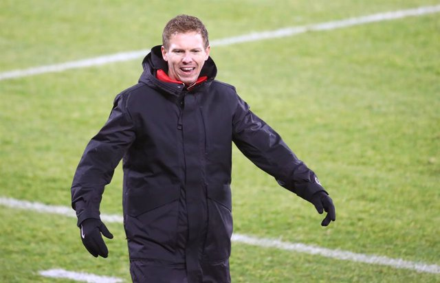 RB Leipzig coach Julian Nagelsmann during the German championship Bundesliga football match between FC Schalke 04 and RB Leipzig on February 6, 2021 at Veltins Arena in Gelsenkirchen, Germany - Photo Roger Petzsche / Picture Point / Pool / firo sportphoto