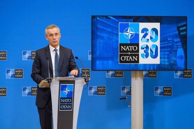 HANDOUT - 15 February 2021, Belgium, Brussels: NATO Secretary General Jens Stoltenberg speaks during a press conference ahead of the meetings of NATO Defence Ministers at NATO Headquarters in Brussels. Photo: -/NATO/dpa - ATTENTION: editorial use only and
